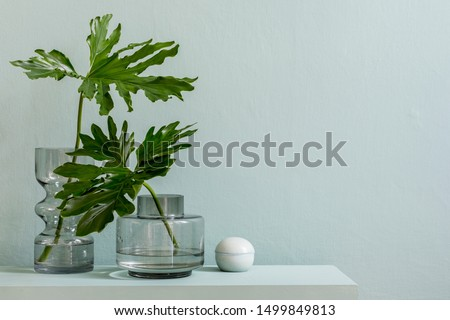 Minimalistic interior design of living room at nice apartment with stylish shelf, glassy vases with tropical flowers and elegant accessories. Copy space. Eucalyptus color concept. Template.