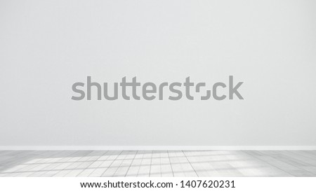 Minimalistic interior of an empty room with wooden parquet floor and gray wall. Large spacious studio - mock up for advertising goods, products - 3d render, illustration.