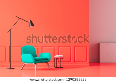 Minimalistic living room interior with red walls and floor and blue armchair standing near small table with books with a floor lamp above it. 3d rendering