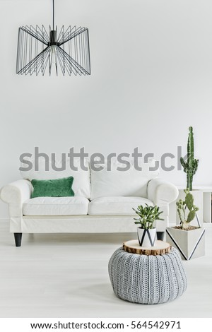 Minimalistic living room with white furniture #564542971