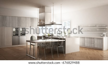 Minimalistic modern kitchen with table, chairs and parquet floor, white interior design, 3d illustration #676829488