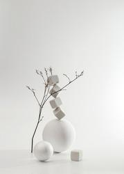 Minimalistic monochrome still life composition. Copy space, abstract modern art design concept