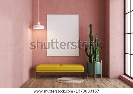 Minimalistic pink living room interior with wooden floor, tall window and yellow bench with vertical poster above it. Potted plant. 3d rendering mock up