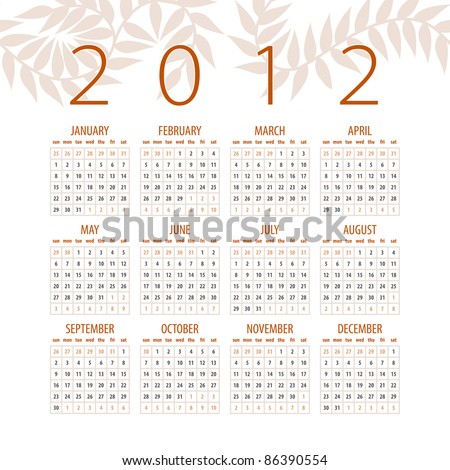minimalistic 2012 red and white calendar design - week starts with sunday