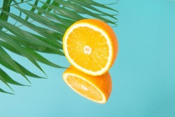 Minimalistic summer fruit tropical composition. Half of juicy fresh orange and palm leaves with mirror image on blue background. Copy space.