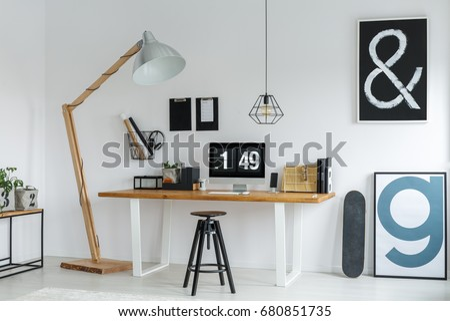 Minimalistic work space in cozy modern loft with new decor #680851735