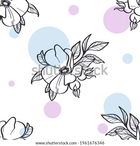 Minimalizm pattern with flowers and pink and blue circles Stok fotoğraf ©