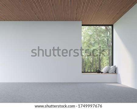 Mininal contemporary style empty room 3d render,There are white wall,concrete tile floor and wooden plank ceiling ,There are large window with wood seat look out to see nature view.