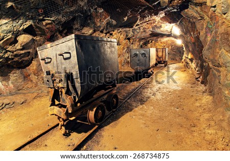 Mining cart in silver, gold, copper mine