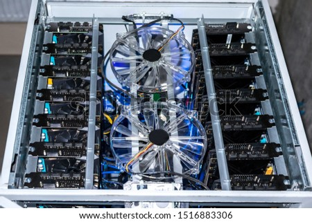 Mining farm graphics card for e-business, calculations, transactions for coin productions