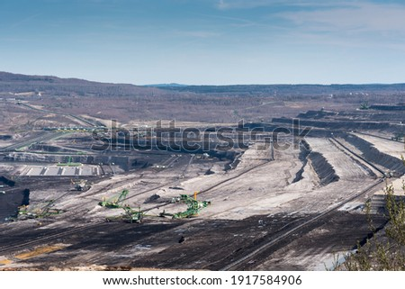 Mining machines operating in the Turow lignite opencast mine in Poland