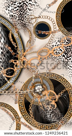 Mink color background design of the chain belt and leopard.