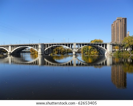 Minneapolis Bridge Across Still Waters