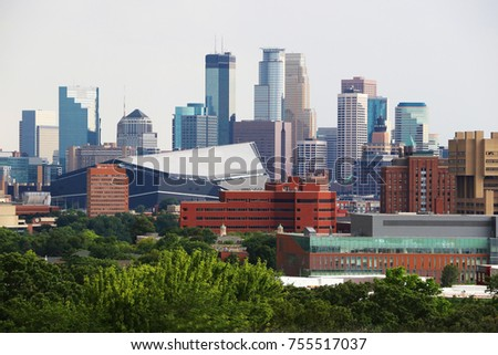 Minneapolis downtown skyline. Urban city architecture background. Minneapolis downtown skyline seen from the Prospect Park Water Tower. Midwest USA, Minnesota.