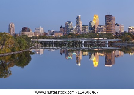Minneapolis. Image of Minneapolis downtown skyline at twilight.