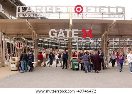 MINNEAPOLIS - MARCH 27: Baseball fans entering Target Field to view the Univ. of Minnesota play Louisiana Tech, in the first baseball game ever played at Target Field on March 27, 2010, in Minneapolis