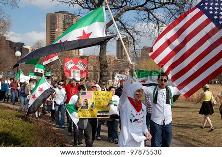 MINNEAPOLIS - MARCH 17:  Unidentified Participants at a global demonstration to mark the first year of the Syrian Revolution, on March 17, 2102 in Minneapolis.