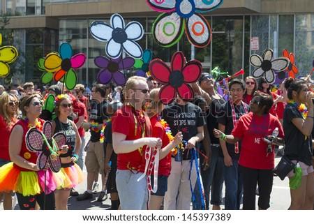 MINNEAPOLIS, MINNESOTA - JUN 30: DOWNTOWN OF MINNEAPOLIS , The Twin Cities of Minneapolis and St. Paul celebrate Gay Pride, on June 30, 2013 in Minneapolis, Minnesota.