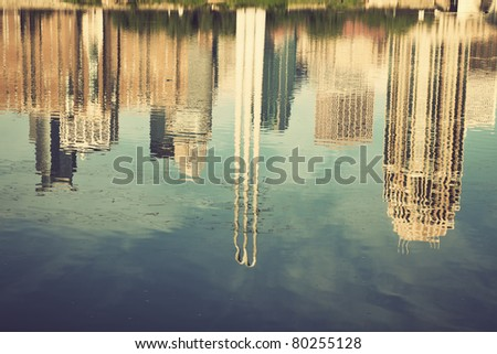 Minneapolis, Minnesota reflected in Mississippi River