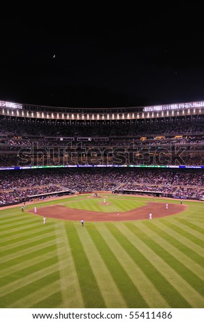 MINNEAPOLIS, MN - JUNE 15: View of Target Field at night during a Major League Baseball game between the Colorado Rockies and the Minnesota Twins on June 15, 2010 in Minneapolis, MN