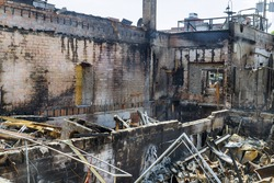 Minneapolis protest and riots turns violent interior of a burnt by fire building