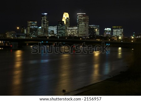 Minneapolis skyline at night with Mississippi River