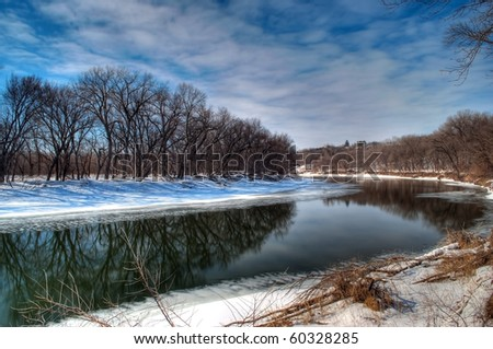 Minnesota River in the Wintertime near savage MN