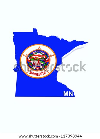 minnesota state flag on map