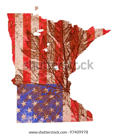 Minnesota state of the United States of America in grunge flag pattern isolated on white background