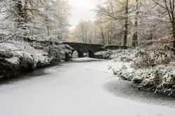 Minnowburn River, Belfast, frozen and covered in snow
