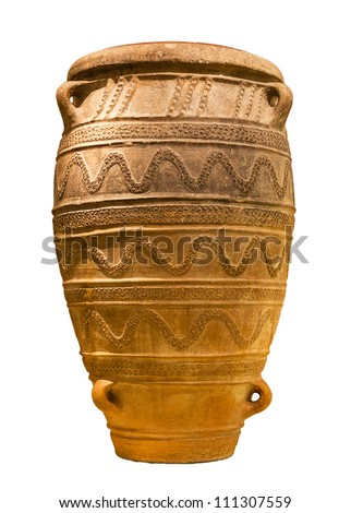 Minoan large storage jar from Knossos palace (1450-1400 B.C.) isolated