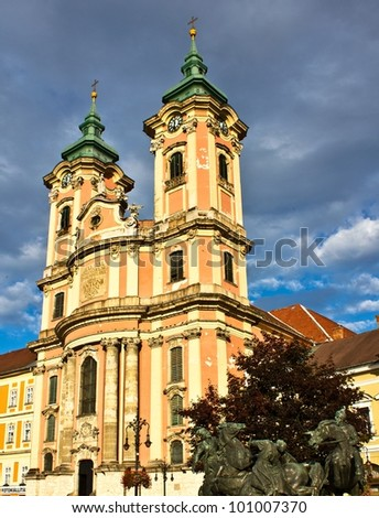 Minorite church built between 1758 and 1773 in the middle of Eger, Hungary.