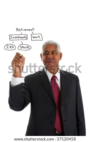 Minority businessman set against a white background