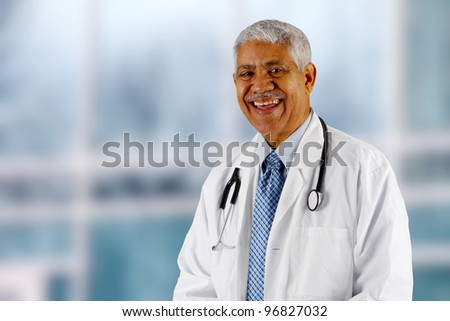 Minority senior doctor working at the hospital