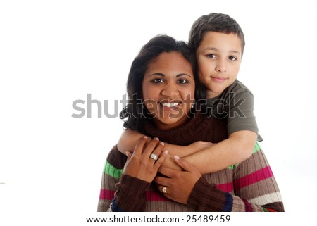 Minority woman and her son on white background