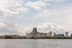 Minsk, apartment buildings, Komsomol lake, Minsk, copy space, horizontal