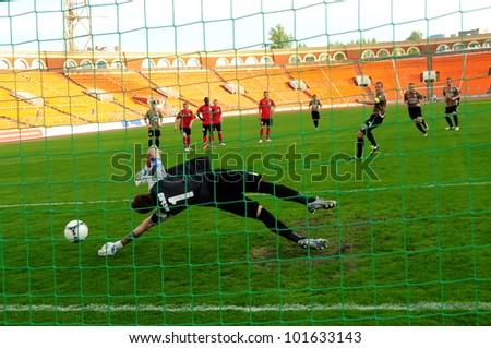 MINSK, BELARUS - APRIL 29: FC MINSK VS FC GOMEL. Artur Lesko, goalkeeper (FC MINSK) missing penalty kick on April 29, 2012 in Minsk, Belarus