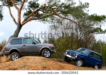 MINSK, BELARUS - CIRCA APRIL 2015: LADA 4x4 Urban at the test drive event for automotive journalists from Minsk