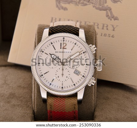 Minsk, Belarus - February 12, 2015: Burberry Men\'s Watches Isolated
