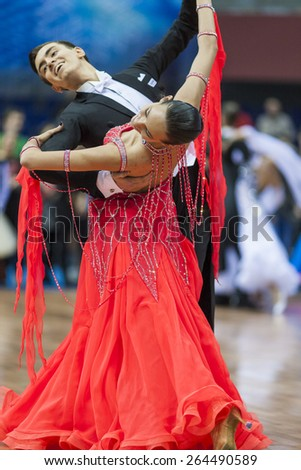 Minsk,Belarus-February 14,2015: Unidentified Professional Dance Couple Performs Youth-2 Standard European Program on IDSA World Professional 10 Dance Championship on February 14, 2015,in Minsk,Belarus