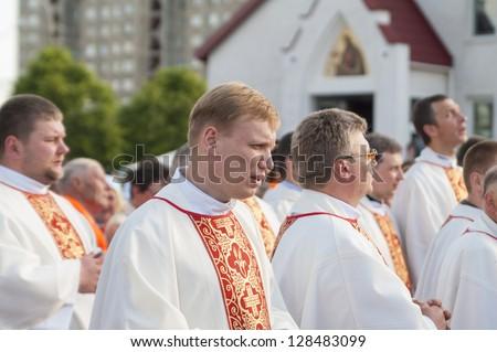 MINSK-BELARUS-JUNE 21:Catholic Bishop praying on Minsk Catholic church opening prior Roman Cardinal Tarcisio Bertone arrival, June 21, 2008 in Minsk, Republic Of Belarus