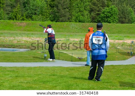 MINSK, BELARUS - JUNE 8: Competitions on bench shooting a stage of the Cup World 2009, Minsk, Belarus, June, 5-14 2009