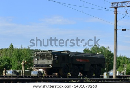 MINSK, BELARUS - JUNE 21, 2019: Rail cars with of the Russian 300 troops and and 20 military equipment arrived in Minsk to participate in the Parade