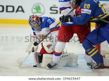 MINSK, BELARUS - MAY 24: BOBROVSKI Sergei (72) of Russia saves the puck during 2014 IIHF World Ice Hockey Championship semifinal match at Minsk Arena on May 24, 2014 in Minsk, Belarus.
