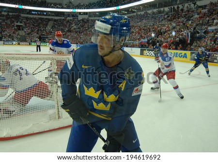 MINSK, BELARUS - MAY 24: ERICSSON Jimmie(21) of Sweden looks on during 2014 IIHF World Ice Hockey Championship semifinal match at Minsk Arena on May 24, 2014 in Minsk, Belarus.