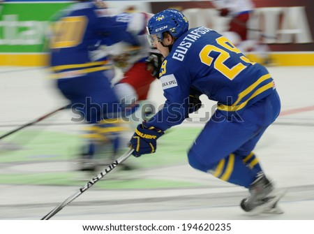 MINSK, BELARUS - MAY 24: GUSTAFSSON Erik(29) of Sweden skates up the ice during 2014 IIHF World Ice Hockey Championship semifinal match at Minsk Arena on May 24, 2014 in Minsk, Belarus.