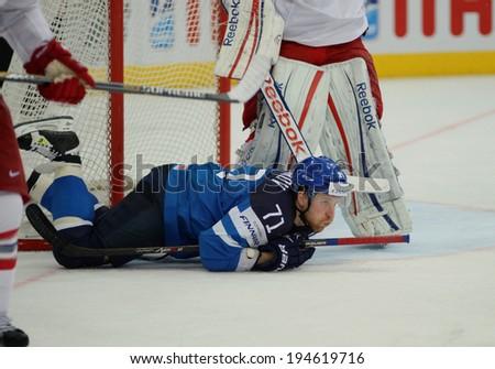 MINSK, BELARUS - MAY 24: KOMAROV Leo (71) of Finland during 2014 IIHF World Ice Hockey Championship semifinal match at Minsk Arena on May 24, 2014 in Minsk, Belarus.