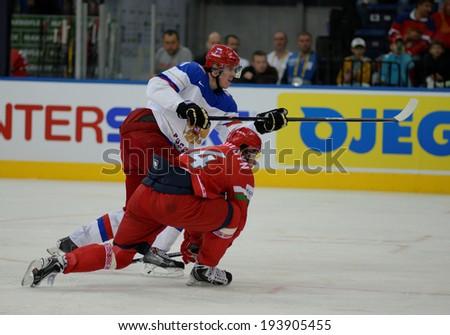 MINSK, BELARUS - MAY 20: MALKIN Yevgeni shoot the puck during 2014 IIHF World Ice Hockey Championship match on May 20, 2014 in Minsk, Belarus.