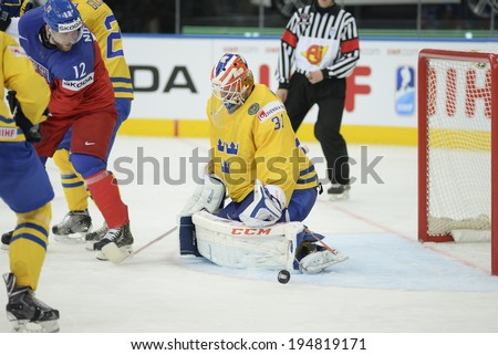 MINSK, BELARUS - MAY 25: NILSSON Anders(31) of Sweden during 2014 IIHF World Ice Hockey Championship match at Minsk Arena