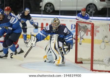 MINSK, BELARUS - MAY 25: RINNE Pekka (35) of Finland during 2014 IIHF World Ice Hockey Championship final at Minsk Arena
